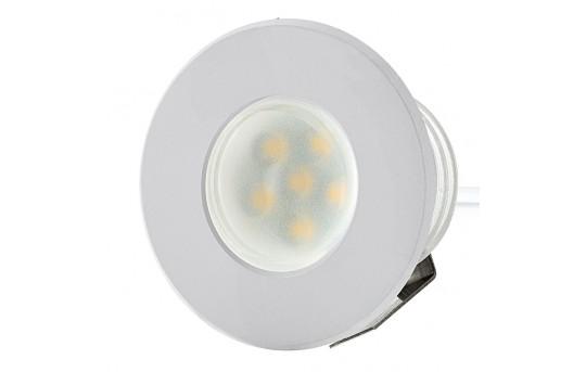 LED Step Lights - White 40mm Metal Trimmed Mini Round Deck / Step Accent Light - 0.5 Watt - MRLF-6xW-MTW