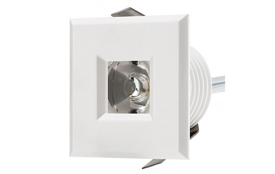 LED Step Lights - White 40mm Plastic Square Trimmed Mini Round Deck / Step Accent Light - 1 Watt - MRLF-1xW-STW
