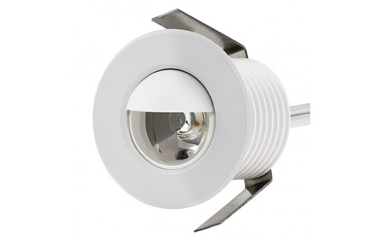 LED Step Lights - White 40mm Metal Trim with Hood Mini Round Deck / Step Accent Light - 1 Watt - MRLF-1xW-HTW