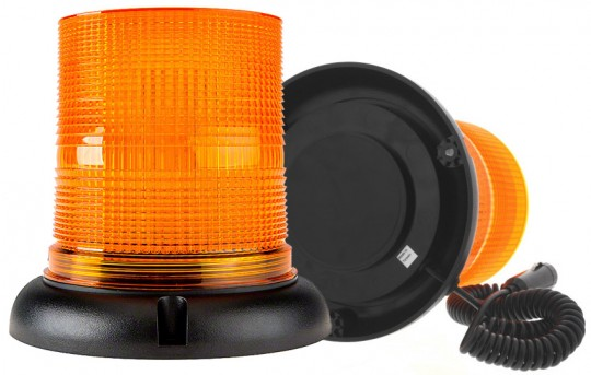 """6-3/4"""" Amber LED Strobe Light Beacon with 40 LEDs - Magnetic Base - STB-A57-MBC"""