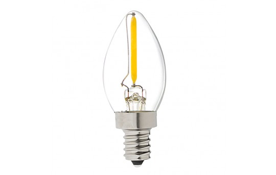 Vintage LED Night Light Bulb - C7 LED Candelabra Bulb w/ Filament LED and Blunt Tip - 10 Watt Equivalent - 53 Lumens - C7-x2DF-E12