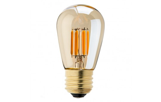 LED Vintage Light Bulb - S14 LED Sign Bulb w/ Gold Tint - 25 Watt Equivalent Filament LED - Dimmable - 223 Lumens - S14D-UW4GF