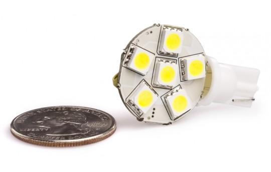 194 LED Bulb - 6 SMD LED Disc - Miniature Wedge Retrofit - WLED-xHP6-DAC-CAR