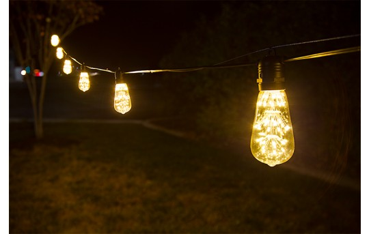 Commercial Grade Outdoor LED String Lights w/ 10 LED Filament, Firework, or Fairy Bulbs - In-Line Sockets - 21'