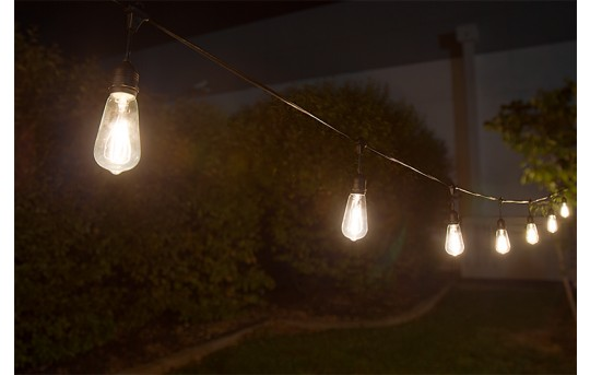Commercial Grade Outdoor LED String Lights w/ 10 LED Filament, Firework, or Fairy Bulbs - Pendant Sockets - 21'