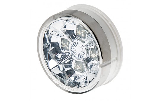 "Round LED Truck and Trailer Lights w/ Clear Lens - 2.5"" LED Side Clearance Lights - 2-Pin Connector - Flush Mount - 4 LEDs - M4C-xHB4"