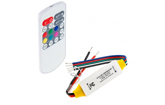 Mini RGBW LED Controller - Wireless RF Remote w/ Dynamic Color-Changing Modes - MCBRF-RGBW