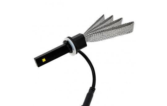 Motorcycle LED Headlight Conversion Kit - 881 LED Headlight Bulb Conversion Kit with Flexible Tinned Copper Braid - 881-HLV3-M