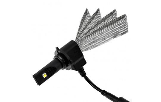 Motorcycle LED Headlight Conversion Kit - HB4 (9006) LED Headlight Bulb Conversion Kit with Flexible Tinned Copper Braid - 9006-HLV3-M