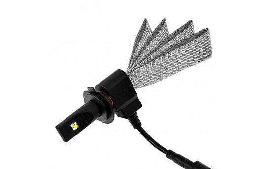 Motorcycle LED Headlight Conversion Kit - H7 LED Headlight Bulb Conversion Kit with Flexible Tinned Copper Braid - H7-HLV3-M