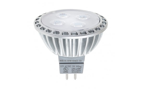 MR16 LED Boat and RV Light Bulb - 40 Watt Equivalent - Spotlight Bi-Pin Bulb - 40 Watt Equivalent - 400 Lumens - MR16-x5SMD-30-RVB