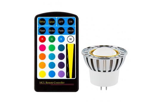 Color-Changing MR16 LED Bulb w/ Remote - 10 Watt Equivalent - 12V AC/DC - RGB LED Spotlight Bulb - 80 Lumens - MR16-RGB3W-60-MCL