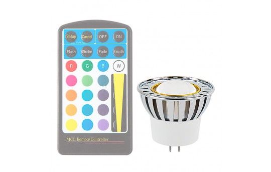 Color-Changing MR16 LED Bulb - 10 Watt Equivalent - RGB LED Spotlight Bulb - 80 Lumens - Remote Sold Separately - MR16-RGB3W-60-HH