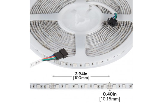 RGB LED Strip Lights - 24V LED Tape Light w/ LC4 Connector - 180 Lumens/ft. - NFLS-RGBX2-24V