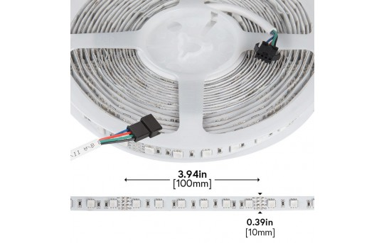 RGB LED Strip Lights - 24V LED Tape Light w/ LC4 Connector - 180 Lumens/ft. - NFLS-RGBX2-24V