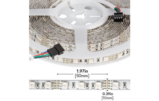 RGB LED Strip Lights - 12V LED Tape Light w/ LC4 Connector - 244 Lumens/ft. - NFLS-RGBX2-LC4