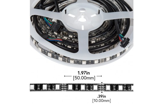 RGB LED Strip Lights - 12V LED Tape Light w/ LC4 Connector - 244 Lumens/ft. - NFLS-RGBX2-LC4-DI