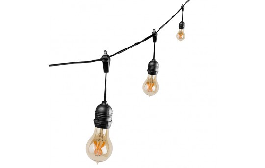 Commercial Grade Outdoor LED String Lights - 21' - 10 Pendant Sockets - Fits E26 Bulbs - LS10P-E26
