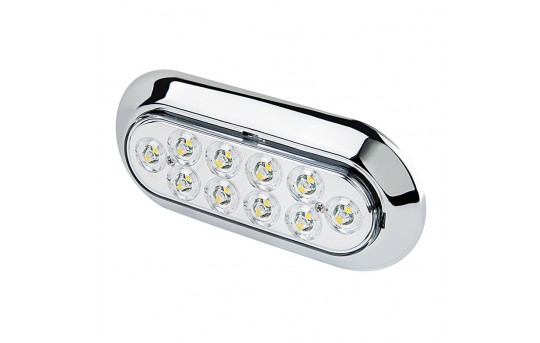 "Oval LED Back-Up Truck and Trailer Light - 6"" LED Reverse Light w/ 10 LEDs - Pigtail Connector - PTSM-W10"