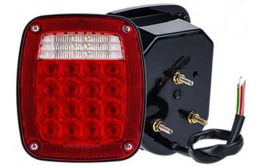 Multi-Function LED Truck and Trailer Lights Combo Box - Universal Mount LED Brake/Turn/Tail Lights - Pigtail Connector - Stud Mount - LBL-R16W18