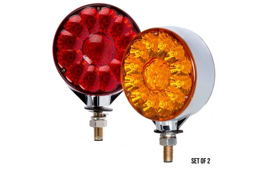 Round LED Pedestal Truck and Trailer Lights - 4