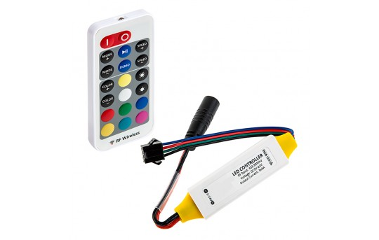 RGB LED Controller w/ LC4 Connector - Wireless RF Remote w/ Dynamic Color-Changing Modes - 5 Amps/Channel - MCBRF-RGB-5ALC4