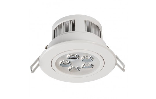 "LED Recessed Light Fixture - Aimable - 40 Watt Equivalent - 4.45"" - 460 Lumens - RLFA-x5W-P45"
