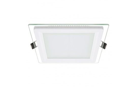 "6"" Square LED Recessed Light w/ Edge-Lit Glass - LED Downlight w/ Open Trim - 60 Watt Equivalent - 770 Lumens - RLFG-x12S"