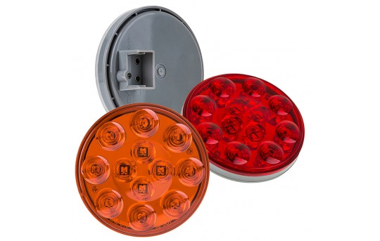 "Round LED Truck and Trailer Lights - 4"" LED Brake/Turn/Tail Lights - 3-Pin Connector - Flush Mount - 12 LEDs - ST-x12"