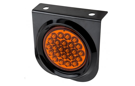 """Round LED Truck and Trailer Lights w/ Built-In Bracket - 4"""" LED Signal and Parking Light - 3-Pin Connector - Surface Mount - 24 LEDs - ST-x24-BRKT"""