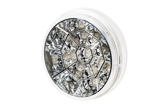 "Round LED Truck Lights and Trailer Lights w/ Clear Lens - 4"" LED Brake/Turn/Tail Lights  - 3-Pin Connector - Flush Mount - 17 LEDs - STC-xHB17"