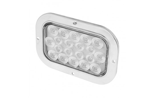 """6"""" Rectangle LED Back-Up Truck Trailer Lights with Built In Flange  - RTSS-WHB20"""