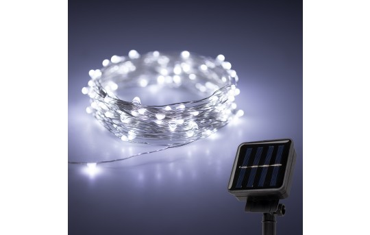 Solar Powered LED Fairy Lights w/ Silver Wire - 32ft - SFL-x10S-SP