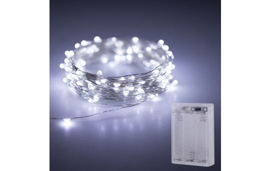 Battery Powered LED Fairy Lights w/ Silver Wire - 13ft - SFL-x4