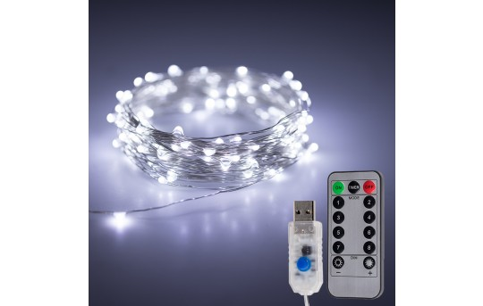 USB LED Fairy Lights w/ Remote Control - Silver Wire - 32ft - SFL-x10S-USB