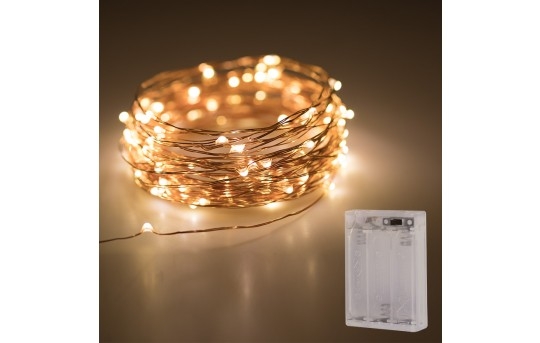 Battery Powered LED Fairy Lights w/ Copper Wire - 32ft - SFL-x10C