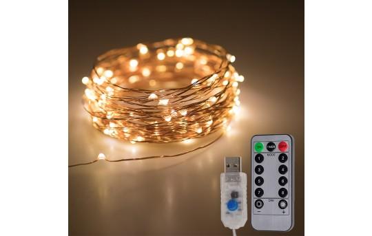 USB LED Fairy Lights w/ Remote Control - Copper Wire - 32ft - SFL-x10C-USB