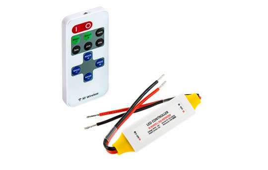 Single Color LED Waterproof Mini Dimmer with Dynamic Modes - RF Remote, 10A - MCBRF-10A