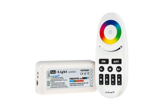 Smartphone or Tablet WiFi Compatible RGB and White Auto Sync Controller with Wireless RF Remote - Dynamic Color-Changing Modes - 6 Amps/Channel - LDRF-RGBW6-SY