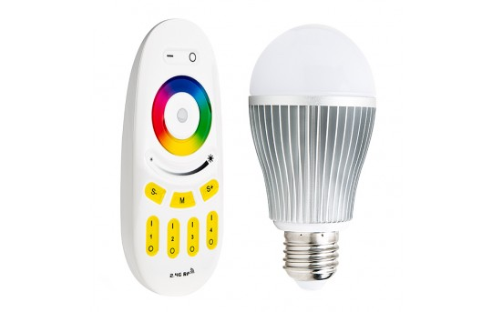 MiLight WiFi Smart Light Bulb with Touch Remote - RGBW LED Bulb - 60 Watt Equivalent - 850 Lumens - E27RF-RGBW9-MZ