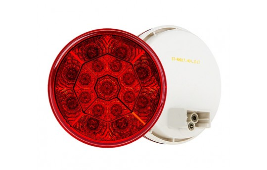 "Round LED Truck and Trailer Lights - 4"" LED Brake/Turn/Tail Lights - 3-Pin Connector - Flush Mount - 17 LEDs - ST-xHB17"