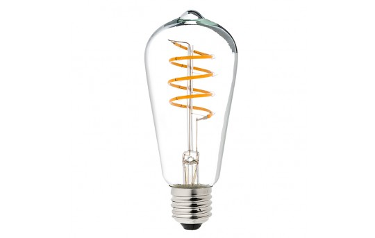 Flexible Filament LED Bulb - ST18 Carbon Filament Style Bulb - Dimmable 15 Watt Equivalent - Spiral Loop - 146 Lumens - ST18D-UW6DFS