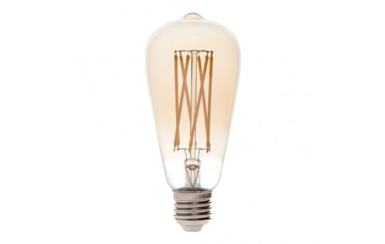 ST26/ST64 LED Filament Bulb - Gold Tint Vintage Light Bulb - 60 Watt Equivalent - Dimmable - 650 Lumens - ST64D-WW6GF