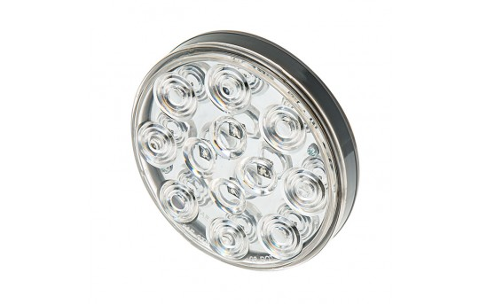 "Round LED Truck and Trailer Lights w/ Clear Lens - 4"" LED Brake/Turn/Tail Lights - 3-Pin Connector - Flush Mount - 12 LEDs - STC-x12"