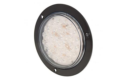"Round LED Truck Trailer Backup Light w/ Built-In Flange - 5-1/2"" LED Reverse Light - 3-Pin Connector - Flush Mount - 30 LEDs - STF-W30"