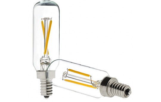 T8 LED Filament Bulb - 25 Watt Equivalent Candelabra LED Vintage Light Bulb - Radio Style - Dimmable - 200 Lumens - T8D-x2DF-E12