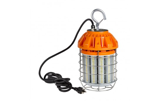 125 Watt Temporary LED Job Site Light w/ Power Cord and Safety Hook - 4000K - 13,700 Lumens  - TJSL-125W