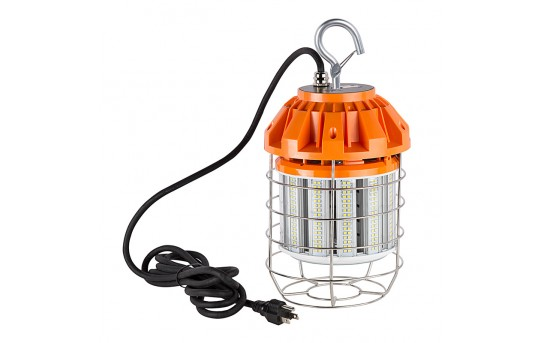 80 Watt Temporary LED Job Site Light w/ Power Cord and Safety Hook - 5000K - 8,500 Lumens - TJSL-80W
