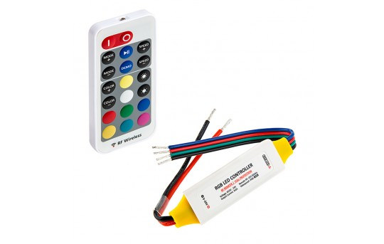 Waterproof Mini RGB Controller with RF Remote - Dynamic Color-Changing Modes - 3-1/2 Amps/Channel - MCBRF-RGB10