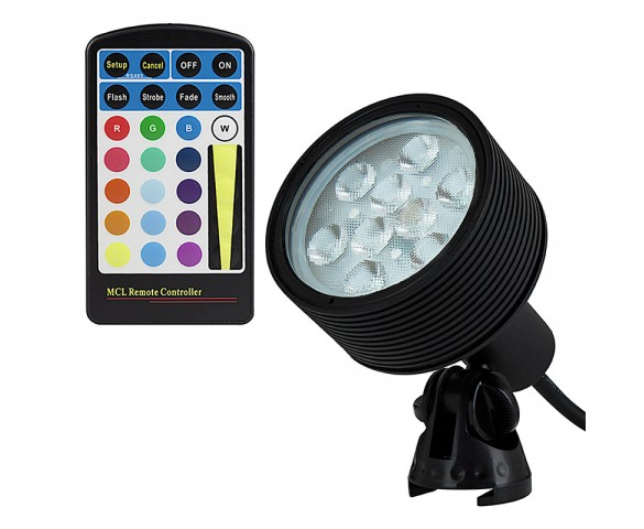 18W Color Changing RGB LED Landscape Spotlight w/ Remote